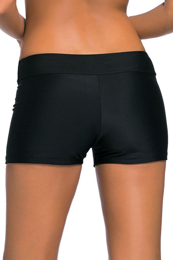 Aleumdr Women's Wide Waistband Bottom Shorts Swimming Panty Black XXL by Aleumdr (Image #3)