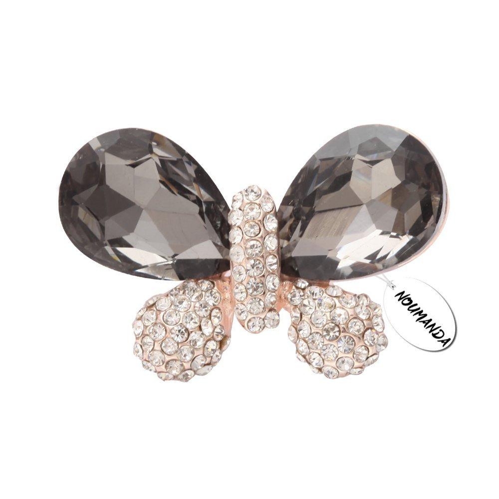 NOUMANDA Fashion Jewelry Women Crystal Butterfly Broaches for Women (Black)