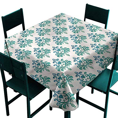DONEECKL Easy Care Tablecloth Victorian Leaves and Heart Shapes Easy to Clean W50 xL50