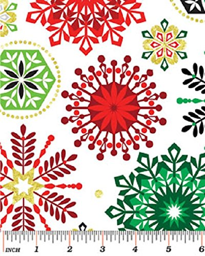 1 Yard Deck the Halls - Let it Snow White by Greta Lynn from Kanvas Bernatex 100% Cotton Quilt Christmas Fabric 6457 09 (Holidays Cotton Quilt Fabric)