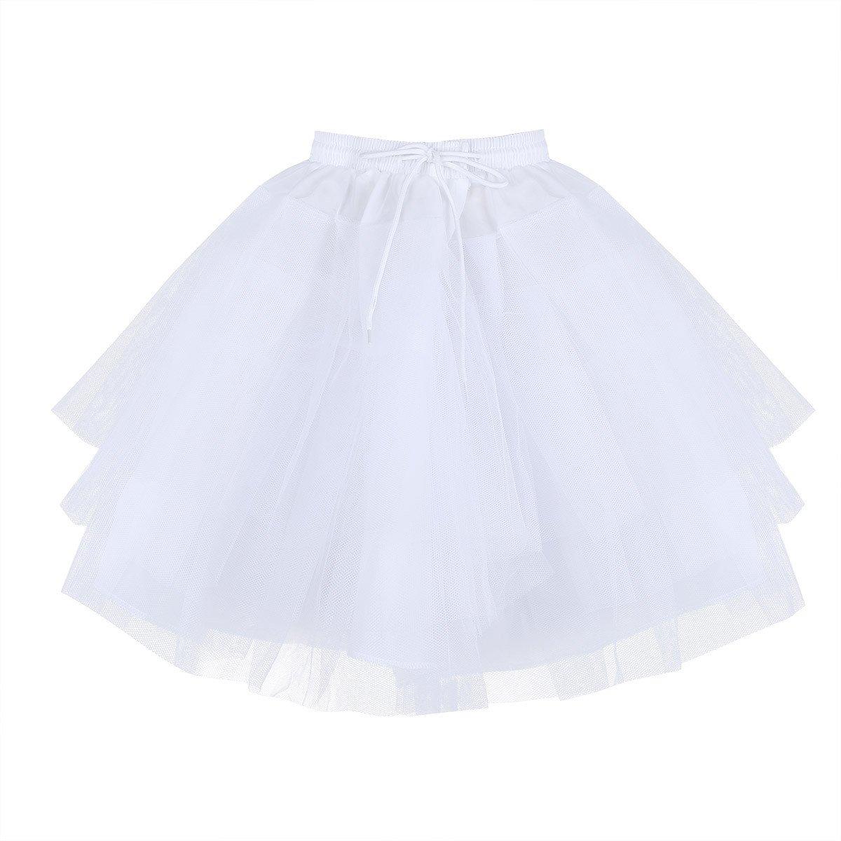 ,Freebily Kids Girls 3 Layers Net Petticoat Underskirt Crinoline Slip for Flower Girls Wedding Dress White One Size