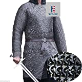 NAUTICALMART Chain Mail Shirt Armor 10 mm Flat Riveted with Washer Medieval Armour SCA- Medium