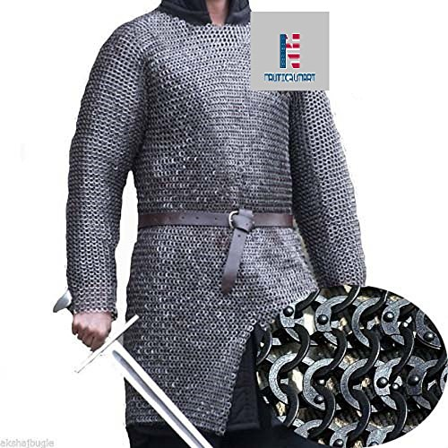 Chain Mail Shirt Armor 10 mm Flat Riveted with Washer MEDIEVAL ARMOUR SCA- X Large by NAUTICALMART