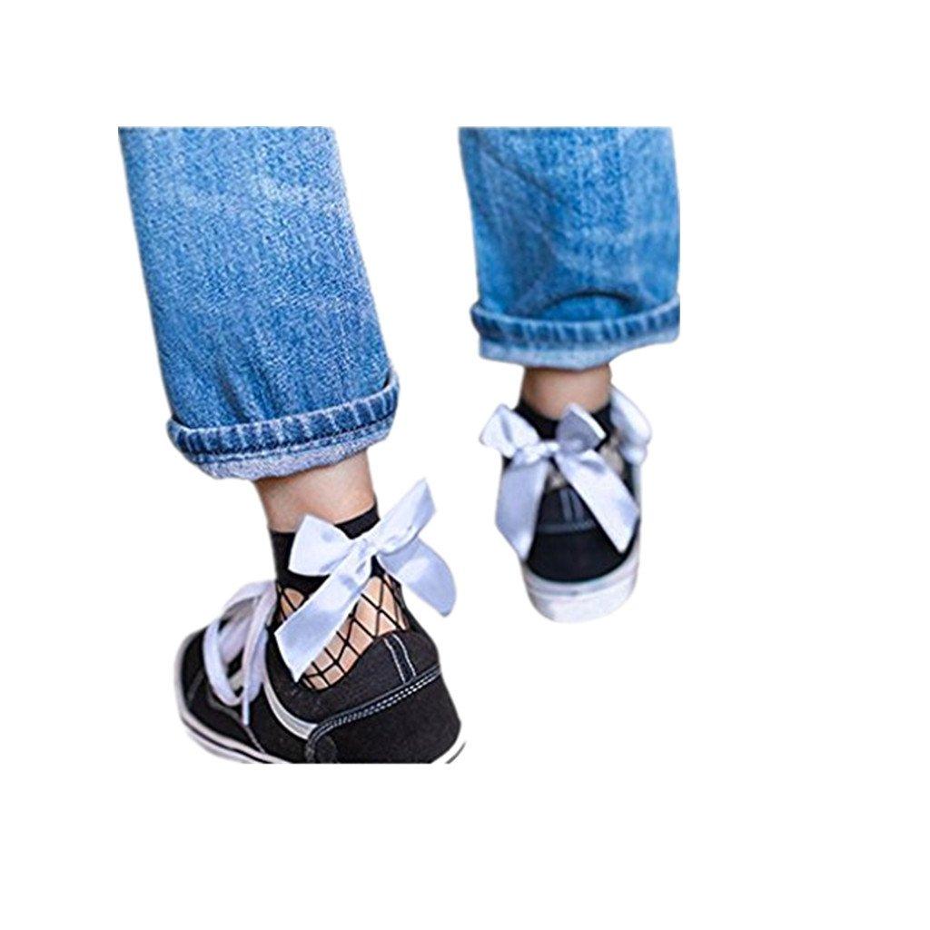 Donna Ruffle Fishnet della caviglia Calze Pesce brevi calzini della rete Familizo