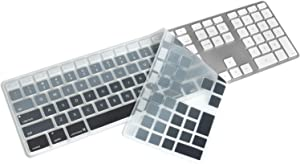 Silicone Keyboard Cover for Apple iMac Wired USB Keyboard with Numeric Keypad MB110LL/B (A1243) US Layout Ultra Thin Protector Skin (for Apple iMac Keyboard (MB110LL/B), Gradient- Black)