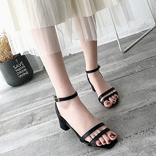 PU beige mujer confort negro de para sandalias Chunky ZHZNVX Beige de Zapatos talón el verano exterior qHBEt