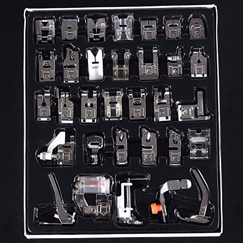 32 Pcs Sewing Machine Presser Feet Set for Brother, Babylock, Singer, Janome, Elna, Toyota, New Home, Simplicity, Necchi, Kenmore, and White Low Shank Sewing Machines (32 Piece Display)