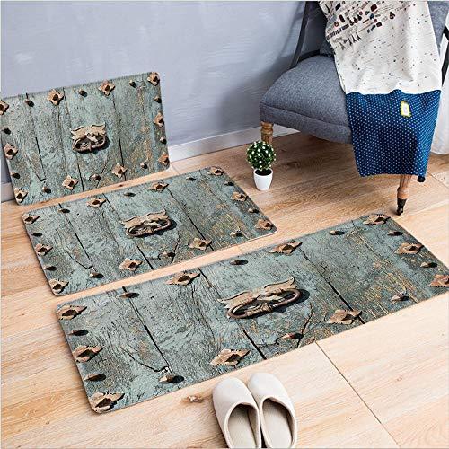 3 Piece Non-Slip Doormat 3d print for Door mat living room kitchen absorbent kitchen mat,Rusty Old Door Knocker Gothic Medieval Times,15.7