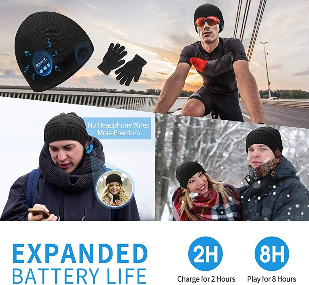 Bluetooth Beanie for Men,Music Winter Hat for Outdoor,Unique Christmas Tech Gifts for Men Women Teen Dad Kids