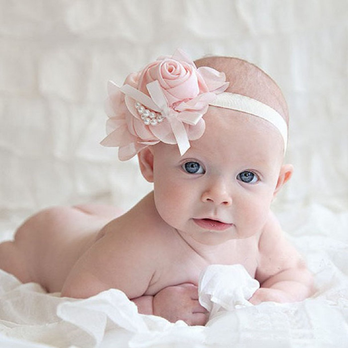 Lookatool 1PCS Lovely Rhinestone Unusual Angel Girls Baby Pearl Flowers Hairband Headbands (White)