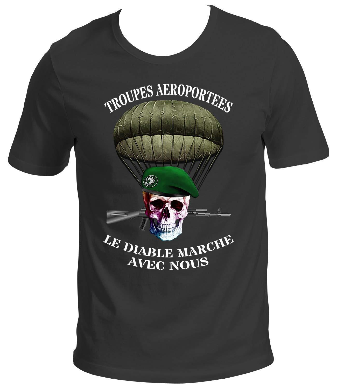 Emperitex T-shirt Militaire L/égion /Étrang/ère /« Arm/ée Troupes A/éroport/ées Parachutiste /» Homme Gris
