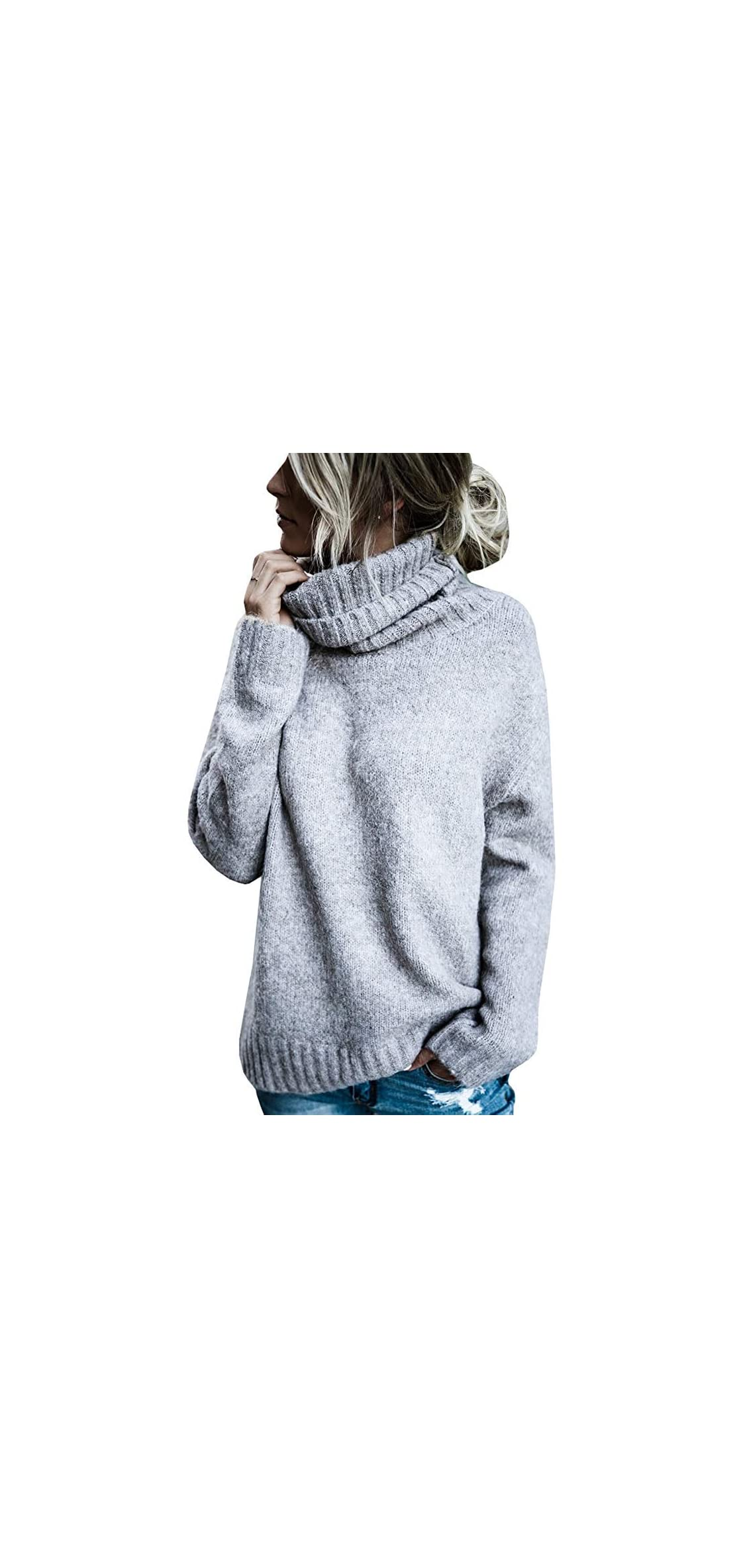 Womens Sweater Turtleneck Oversized Knitted Casual Soft