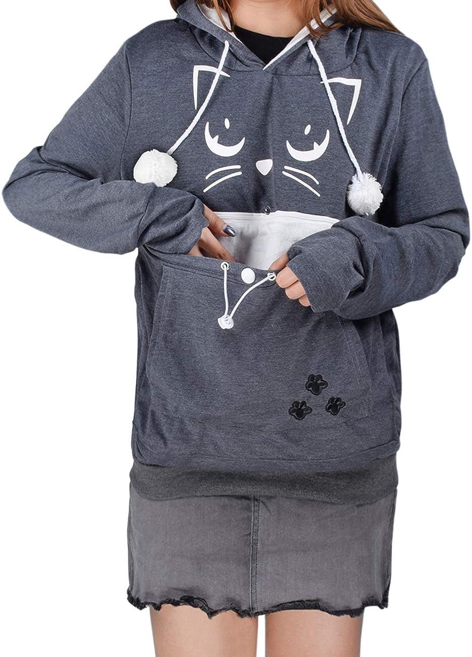 Mode Sweatshirt Kapuze Taschenbeutel Hoodie Hundetasche Haustier Halter Lange /Ärmel Lose Pullover Top Bluse besbomig Unisex Kapuzenpullover mit Katzen Hund Gro/ßen Tasche