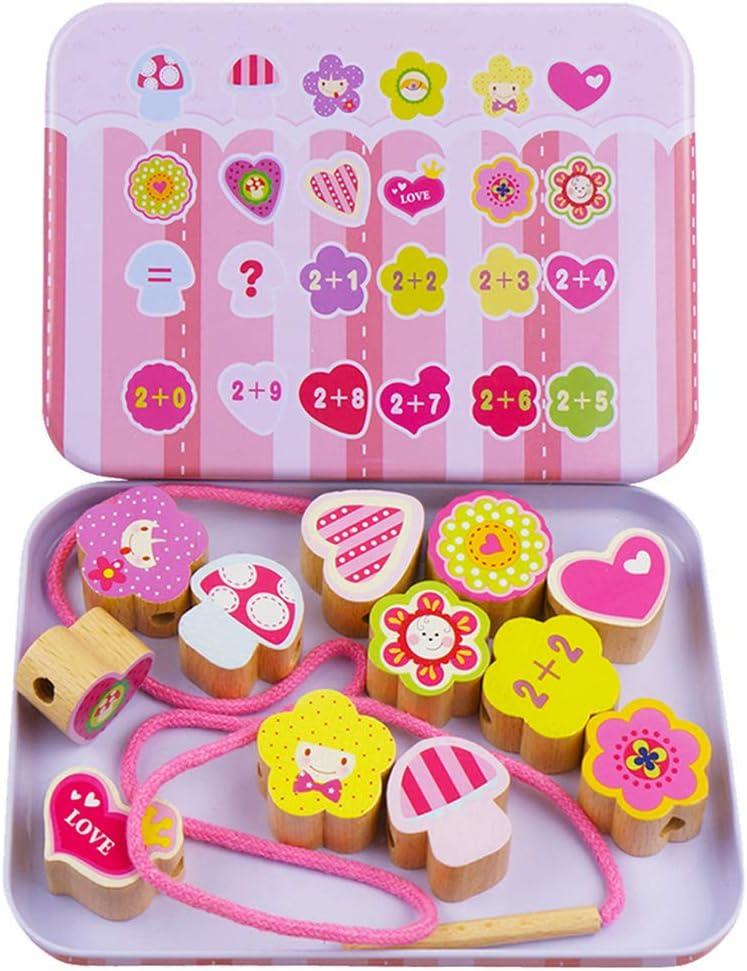 PRENKIN Fruit Blocks Animal de la Historieta Conjunto de Madera con Cuentas de encordar Juguetes para niños Educación Aprendizaje Coloridas Productos niños de Juguete