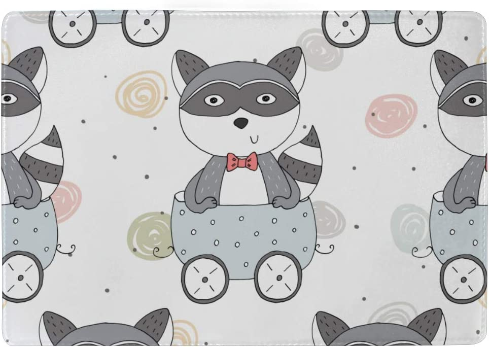 Many Cute Lovely Raccoon Carton Blocking Print Passport Holder Cover Case Travel Luggage Passport Wallet Card Holder Made With Leather For Men Women Kids Family