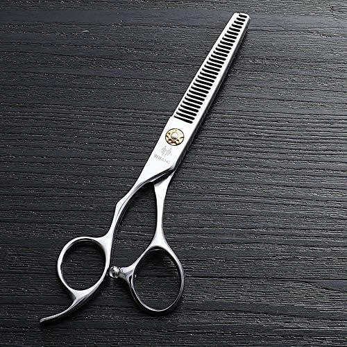ヘアカット鋏 はさみ 6インチ美容院プロのヘアカットハイエンド左手歯はさみ、440 cステンレス鋼理髪ツール ヘアトリミングシザー (Color : Silver)
