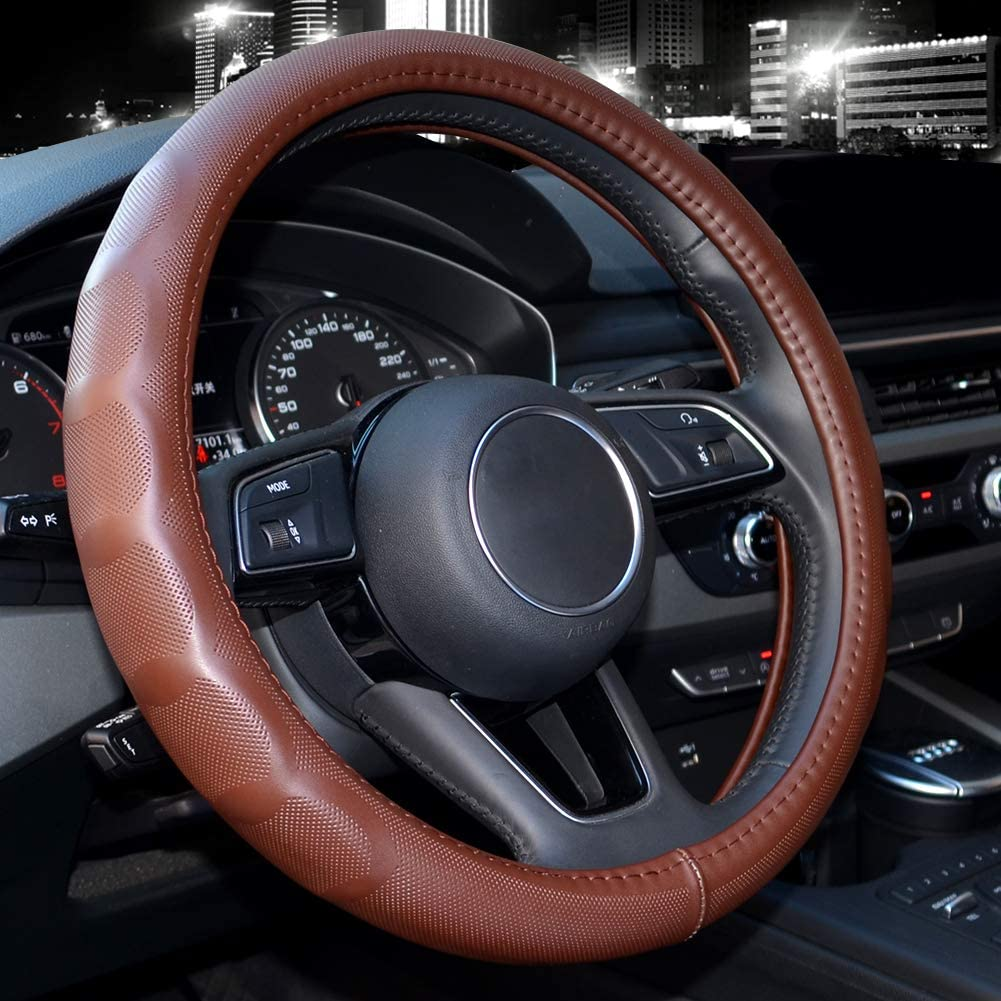 Genuine Leather Valleycomfy Steering Wheel Covers Universal 15 inch