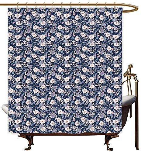 (SKDSArts Shower Curtains for Bathroom Colorful Victorian,Vintage Romantic Rose and Magnolia Bouquet with Twigs on Dark Backdrop,Dark Blue Pale Pink,W69 x L90,Shower Curtain for clawfoot tub )