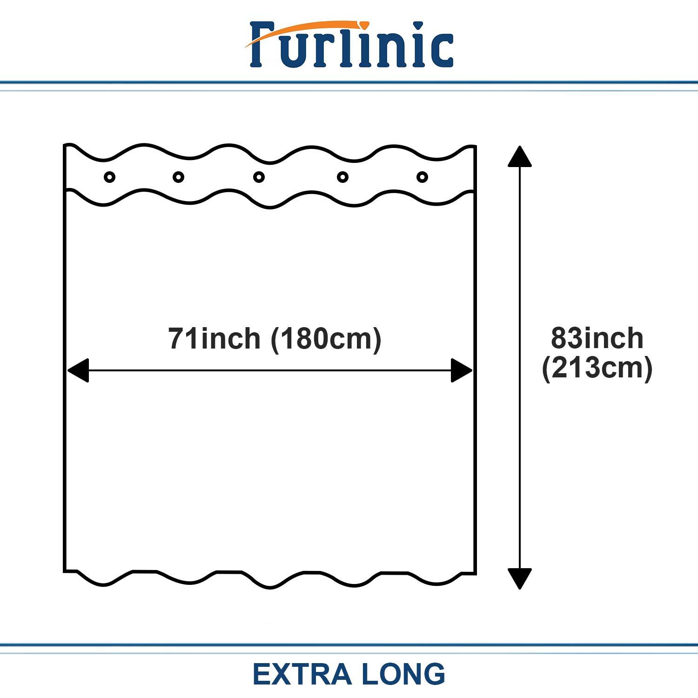 Furlinic Cortinas de Ducha Delgadas de 80x183 Blancas para Cortinas de Tela de Ducha Impermeable Anti-Moho en el Ba/ño F/ácil de Instalar con Ojales Grandes.