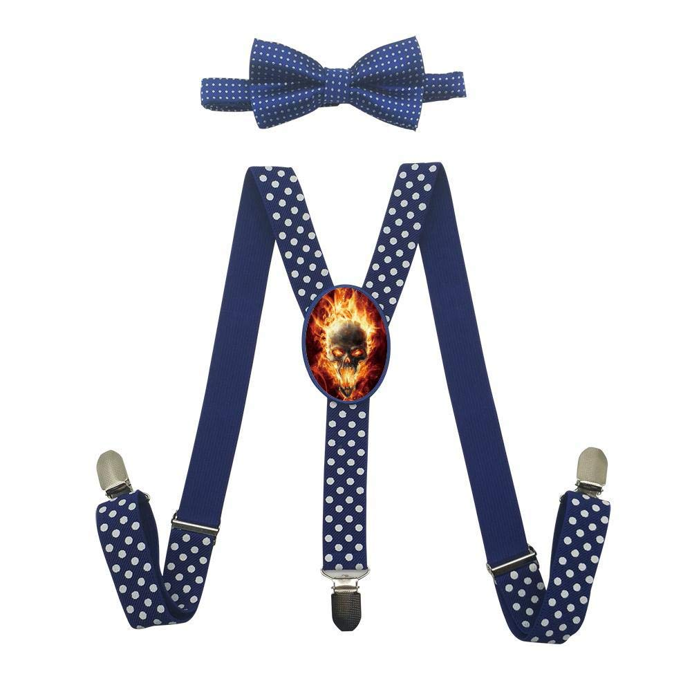 Qujki Fire Flame Skull Suspenders Bowtie Set-Adjustable Length