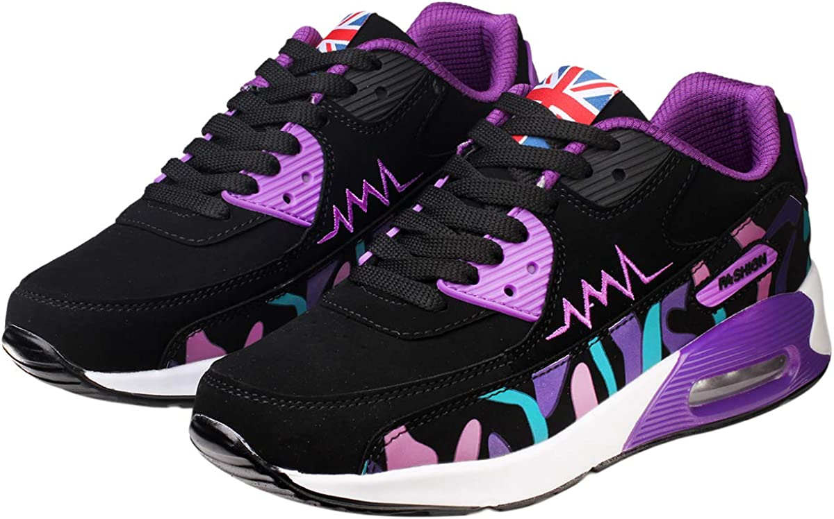 zpllsbratos Baskets Air Sport Chaussures de Running Femme Course Outdoor Marche Athlétique Gym Fitness 35-40 Violet