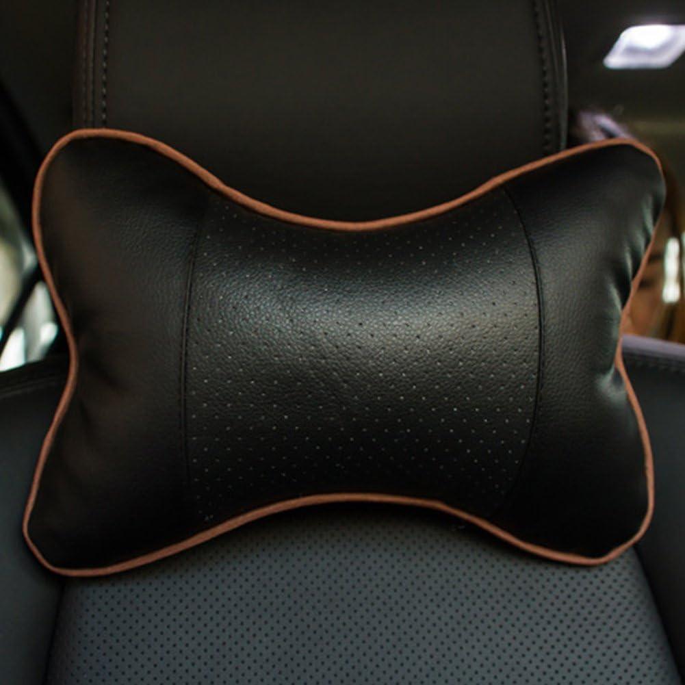 poggiatesta per seggiolino auto borsa in pelle PU auto collo cuscino with hole Gray Auto poggiatesta cuscino per auto