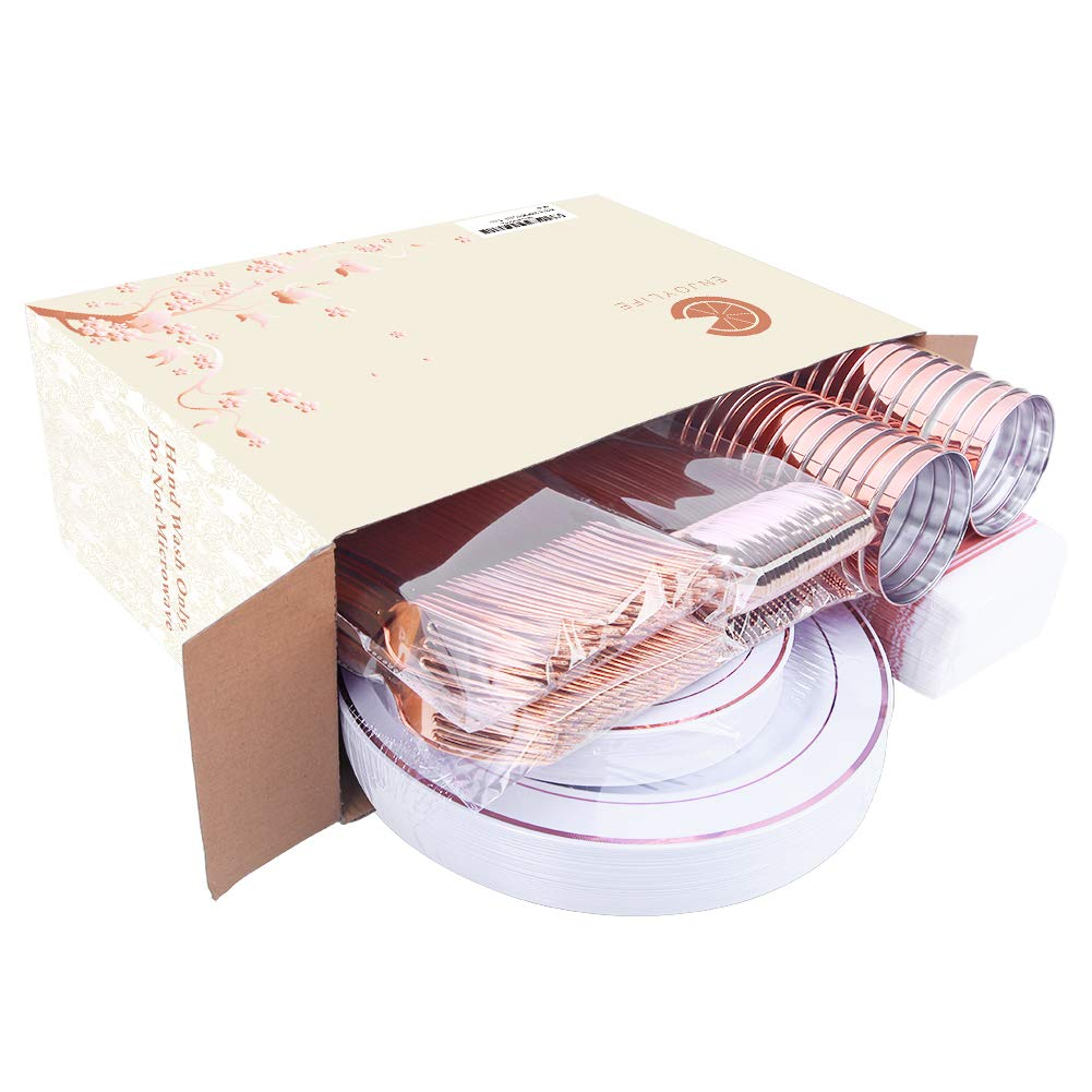 200 pieces Rose Gold Plastic Plates,Rose Gold Silverware, Rose Gold Cups, Linen Like Paper Napkins, Rose Gold Disposable Flatware, Enjoylife (Rose Gold, 200) by enjoylife (Image #7)