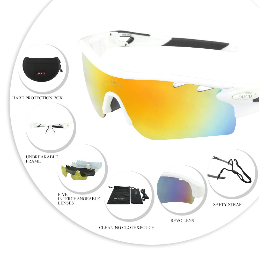 7cea1794f8 POLARIZED Sports Sunglasses Cycling Glasses With 5 Interchangeable Lenses ( White Black)