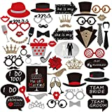 Unomor Wedding Photo Booth Props with Wooden Sticks for Wedding Party Decorations - 49 PCS (Style 3)