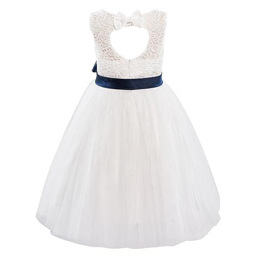 cf88afc62 Image Unavailable. Image not available for. Color: Dresslane Ivory Lace  Tulle Keyhole Back Wedding Flower Girl Dress