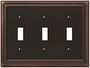 AMERELLE 94TTTVB Continental Triple Toggle Cast Metal Wallplate in Aged Bronze