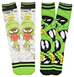Looney Tunes Marvin the Martian Angry Photo Real Men's 2 Pack Crew Socks