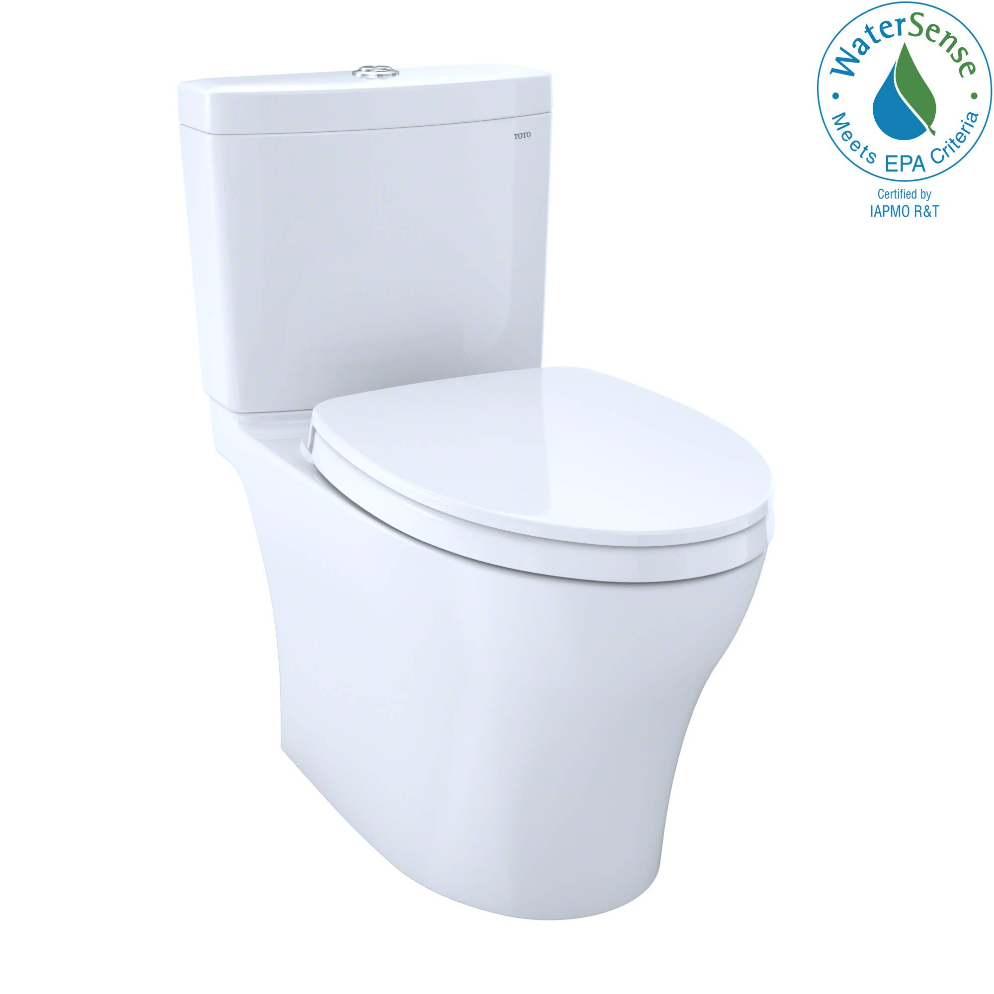 TOTO MS446124CEMG#01 Aquia IV WASHLET Elongated Dual Flush 1.28 and 0.8 GPF CeFiONtect, White-MS446124CEMG Two-Piece Toilet, 27.6 x 15.6 x 29.6 inches, Cotton White by TOTO