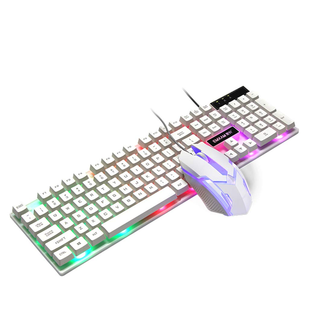 Souris Clavier M/écanique Imperm/éable Souris USB Filaire Gaming Accessoires pour Ordinateur Portable Tablette Windows XP//7//8 Mac10.2 blanc