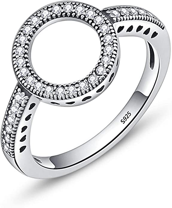 TFR Ring 925 Sterling Silver Forever Clear Round Rings Jewelry for Women Wedding Engagement Rings
