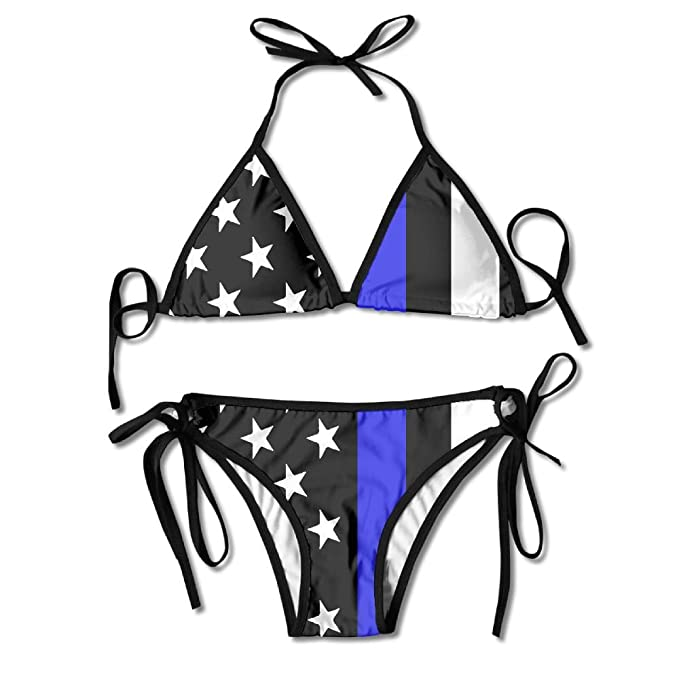d687df96c65 Amazon.com: Blue Thin Line USA Flag Women's Brazilian Bikini Triangle  Thongs G String Swimwear Bathing Suits: Clothing