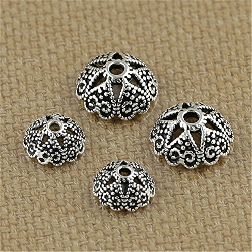 Luoyi Thai Silver Bead Flower Caps, 6-petal, Jewelry Findings (H015T) (Thai Sterling Silver Flower)
