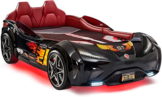 Cilek Gts Twin Size Kids Race Car Bed Frame For Boys From 2 To 12 Remote Controlled Led Headlights Engine Sound Upholstered Headboard Interior