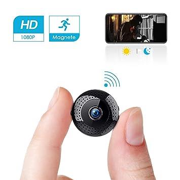 Mini Cámara espía Portátil Interior HD 1080P /Exterior WiFi Cámara de Seguridad Admite Tarjeta hasta 128G(no Incluye) / Vision Nocturna Cámara de ...