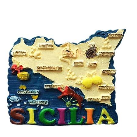 Cartina Della Sicilia Turistica.3d Sicilia Italia Della Mappa Frigorifero Turistica Souvenir