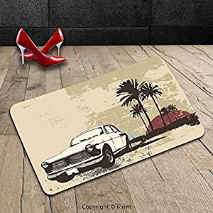 Custom lavable Felpudo Vintage por Old Classic American coche con hawaiano Miami ciudad como telón de fondo Retro marrón coco desecado rosa uso en interiores/al aire libre Felpudo alfombra alfombra alfombra