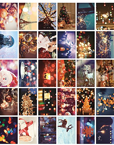Glow In The Dark Postcard Set of 30 Santa Claus Christmas presents/Postcards Greeting Cards Variety Pack (Sexy Thanksgiving Pictures)