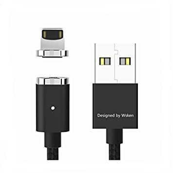 Cable de relámpago magnético, Wsken Mini2 LED USB Sync y cable de cargador rápido para Apple IphoneX / 8/7 / SE 6 6S Plus Ipad Mini2 3 4 Air 2 Ipod ...