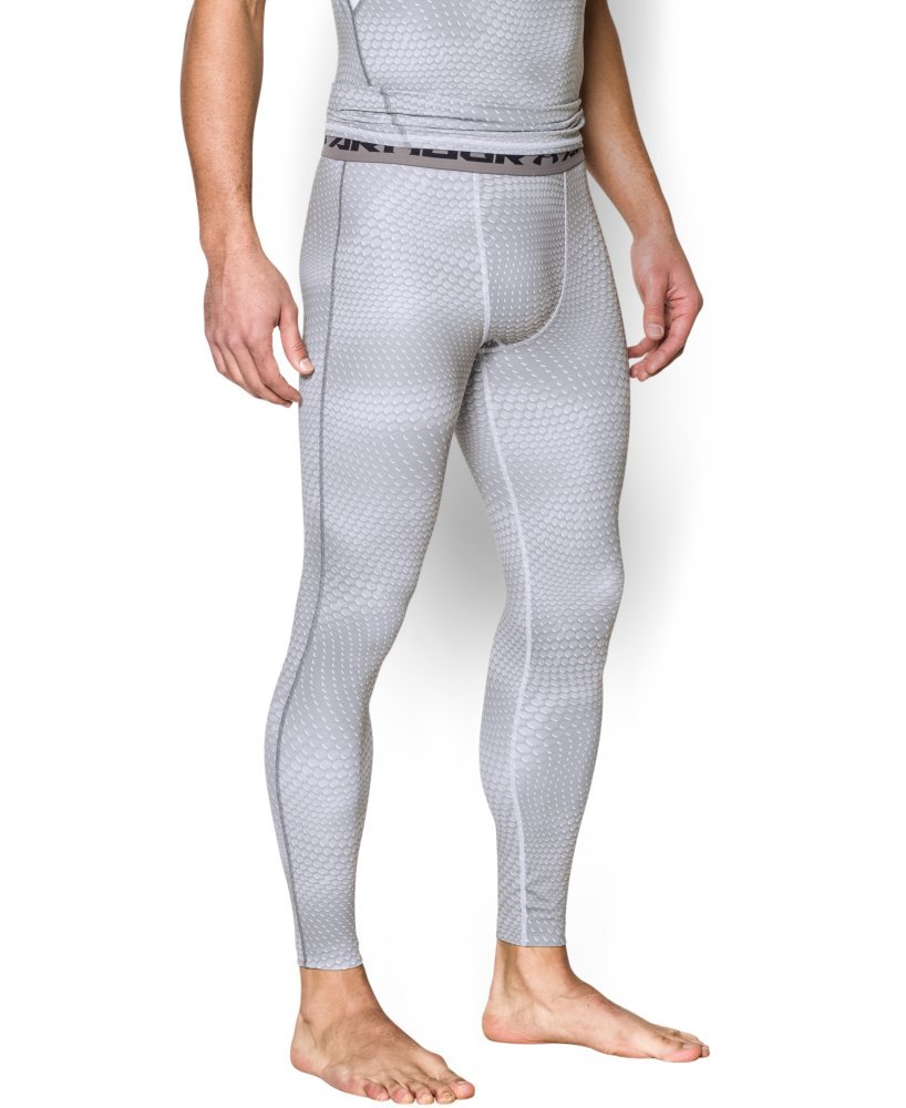 Under Armour Men's HeatGear Printed Legging, White/Graphite LG X 26 by Under Armour (Image #1)
