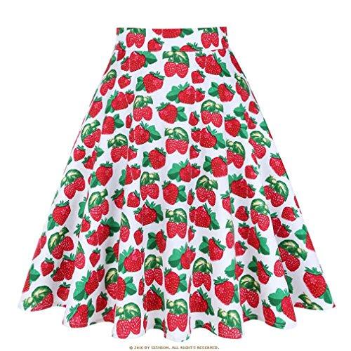 t Jupe Noire Femmes Taille Haute, Plus la Taille imprim Floral  Pois Femmes Jupes d't Skater 50 s Vintage Midi Jupe White Strawberry