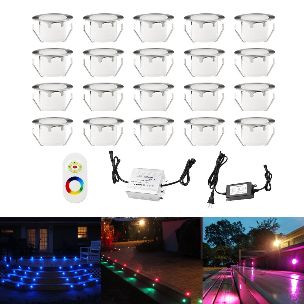 Color Changing Led Deck Lights Outdoor IP67 Waterproof Low Voltage Stainless Steel Recessed In-ground Patio Deck Step Lighting Kits for Landscape Garden Driveway Pack of 20
