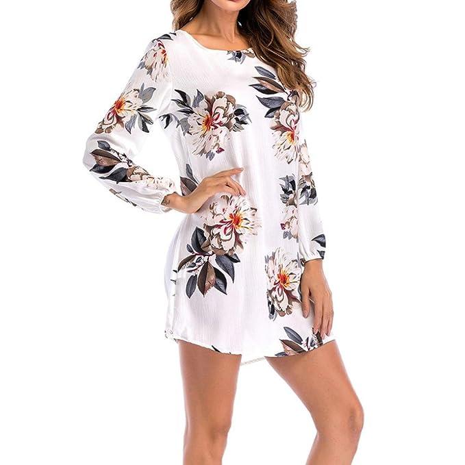 Lenfesh Vestidos de Mujer Talla Grande, Ocasional Vestidos de Floral para Playa Moda Mini Vestido Corto de Verano Manga Larga de Fiesta Cóctel Playa ...