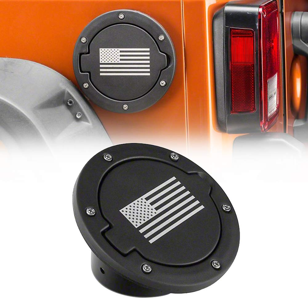 USA Flag IBACP Fuel Filler Door Cover Gas Tank Cap for 07-17 Jeep Wrangler JK /& Unlimited