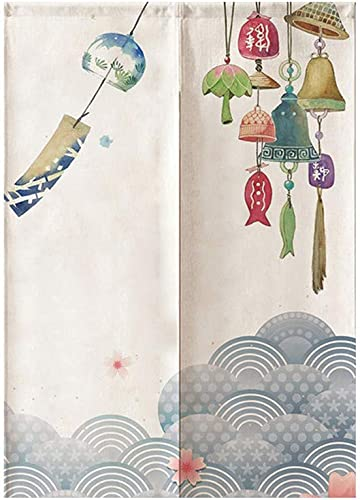 MYRU Japanese Noren Doorway Curtain Tapestry Wind Chimes,33.5 Inches x 59 Inches