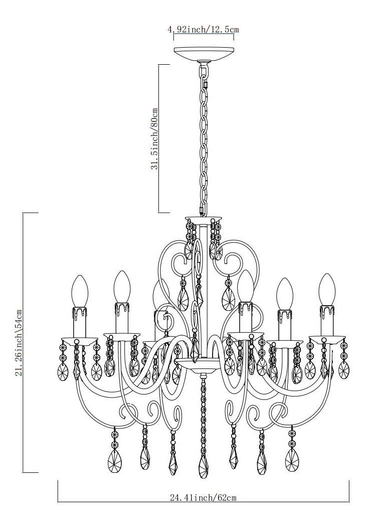 Crystal Chandelier Lighting 6 Lights Vintage Candle Style Chandeliers Pendant Ceiling Light Fixture for Living Room Bedroom Elegant Decoration E12 Bulbs Required H21.26 X L24.41inch